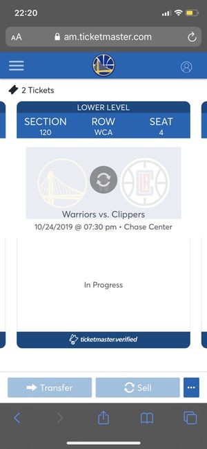 Opening night warriors VS clippers at the new chase center for Sale in Tracy, CA