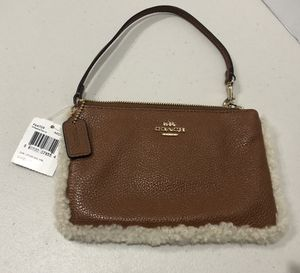 New Coach Leather & Shearling Wristlet for Sale in Hayward, CA