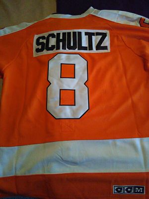 New dave schultz hockey jersey all numbers and letters are sewn on excellent condition for Sale in Cleveland, OH