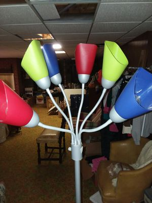 Tall floor lamp with crazy color twist ends for Sale in Hickory, NC