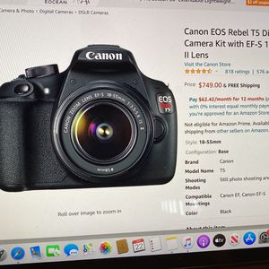 Canon EOS Rebel T5 Digitial SLR Camera Kit Eith EF-S 18-55mm Lens for Sale in Pico Rivera, CA
