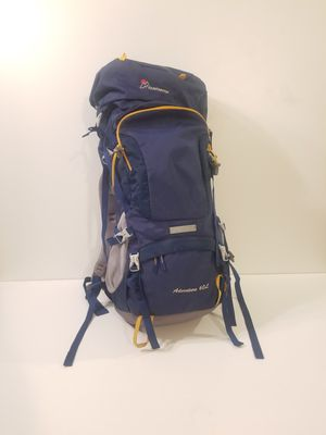 60 liter backpacking backpack adjustable back and straps, camel pack access, built in rain guard for Sale in San Diego, CA