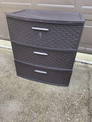 Brown resin weave plastic storage drawer bins for Sale in Plantation, FL