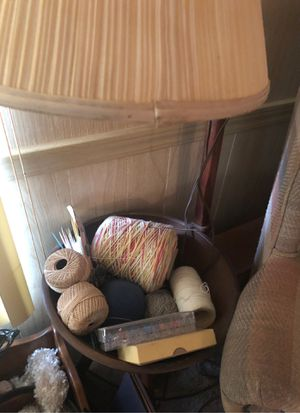 Knitting side table with lamp Antique for Sale in Fort Pierce, FL