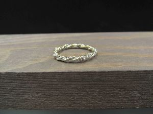 Size 3 Sterling Silver Two Tone Twisted Tiny Band Ring Vintage Statement Engagement Wedding Promise Anniversary Bridal Cocktail for Sale in Lynnwood, WA