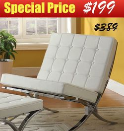 White Faux Leather Accent Chair with Chrome Legs for Sale in Los Angeles,  CA