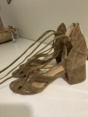 Michael Kors heeled sandals suede brown size 7.5 for Sale in Addison, TX