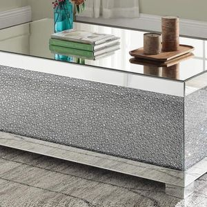 GLAM Mirrored Rectangular Coffee Table w/Faux Crystals / MESA DE CENTRO for Sale in Upland, CA