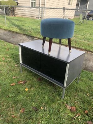 Free ikea tv stand and suede ottoman for Sale in Tacoma, WA