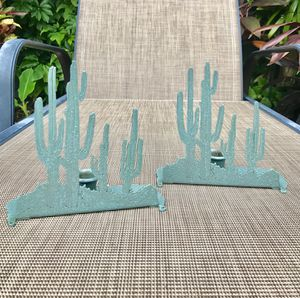 Vintage Green Metal Cactus Candleholders- A Pair for Sale in Fort Lauderdale, FL