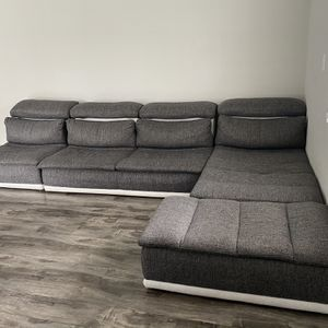 David Ferrari Panorama Italian Modern Grey Fabric & White Leather Sectional Sofa made in italy MADE IN ITALY for Sale in Los Angeles, CA