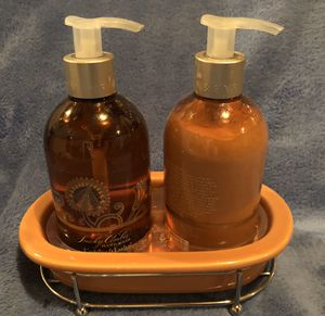 Smokey amber Crabtree and Evelyn soap/ lotion container for Sale in Mechanicsburg, PA