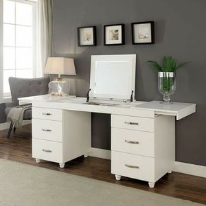 WHITE FINISH MAKEUP VANITY MIRROR DESK CABINET JEWELRY DRAWERS for Sale in San Diego, CA