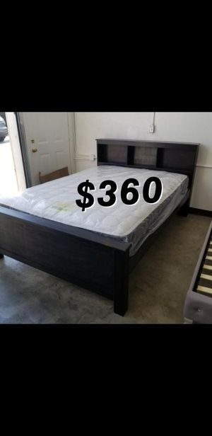QUEEN BED FRAME AND MATTRESS PINE WOOD for Sale in Bellflower, CA