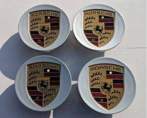 Silver BRAND NEW SET OF 4 Porsche caps wheel rim center Cap 76mm 3 inch diameter CAYENNE CAYMAN PANAMERA BOXSTER 911 718 917 993 964 996 997 987 986 for Sale in HUNTINGTN BCH, CA
