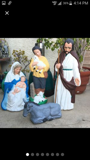 Vtg TPI Christmas Nativity Blow Mold Lot Joseph Jesus Mary Shepherd Boy Lamb Donkey for Sale in Huntington Beach, CA