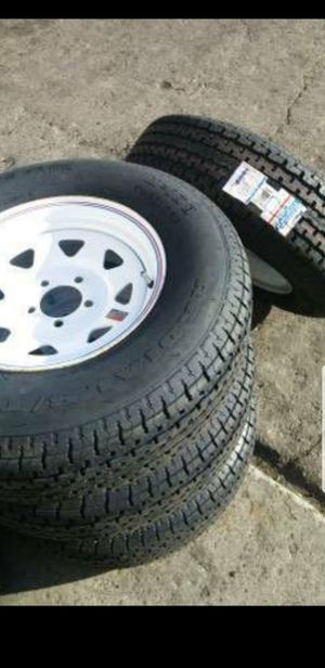 New 205/75/15 trailer tire/tires mounted on white 5 lug 5x4.5 rim for Sale in Moreno Valley, CA