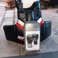 Meister Full Torso Chest Guard Gel Padded W/ Everlast Boxing Gloves [Read Description] for Sale in Phoenix,  AZ