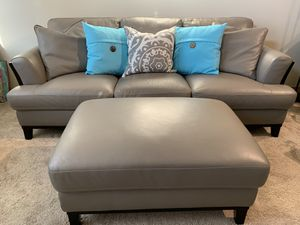 KUKA HOME Top Grain Gray Leather Sofa and Ottoman with Forcefield Fabric Protection Treatment for Sale in Arlington, VA