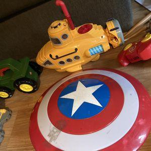 Kids Toys. Captain America Shield, Bumblebee, Submarine, Water Boat, Spider-Man Play set, Pj Masks Set, Etc Etc for Sale in Tijuana, MX