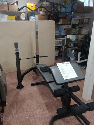 Golds Gym Workout Station Olympic Bench Incline Decline Leg Pulldowm Preacher Curl system with Weights and Bar for Sale in Glen Ellyn, IL