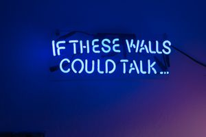 'If These Walls Could Talk' Blue Neon Sign for Sale in West Hollywood, CA