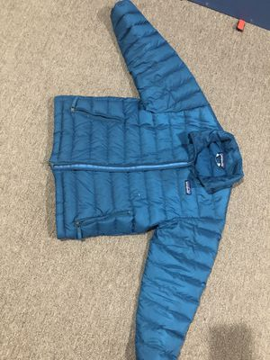 Patagonia winter down jacket, metallic blue for Sale in Stoneham, MA