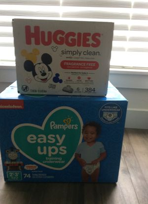 ( Brand New) Pampers Easy Ups Diapers - Size 2T-3T (16-34lbs) & Huggies Simply Clean (Fragrance Free) Wipes. for Sale in Old Bridge, NJ