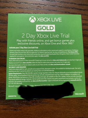 Used, XBOX LIVE GOLD FREE TRIAL CODE for Sale for sale  Sanford, FL
