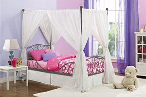 New Twin princess canopy bed no mattress no drape $80 for Sale in Dallas, TX