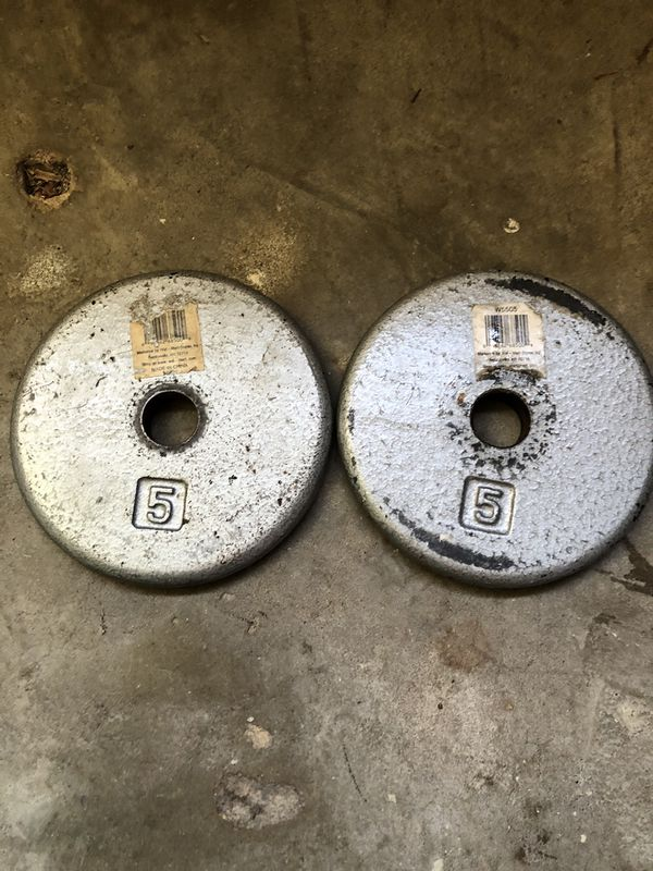 Two 5 LB. Cast Iron Weight Plates Standard Barbell Dumbbell 10 Lb. Total