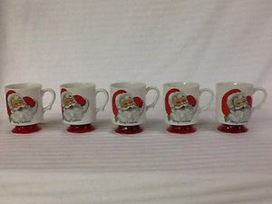 5 Vintage Merry Christmas Footed Santa mugs for Sale in Durham, NC