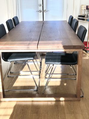 Dining set- wood table and six chairs for Sale in Newport Beach, CA