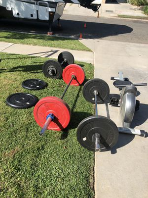 Cross training drop weights plates & Bar, Bench decline/inclineinversion boots, row machine & elliptical for Sale in Fresno, CA