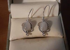 92.5 Sterling Silver Beaded Moonstone Earrings. for Sale in Pawtucket, RI