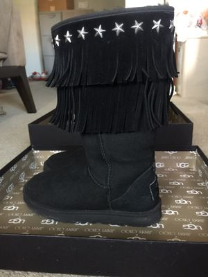 Ugg Jimmy Choo Black Fringe Snow Boots size 7 for Sale in Arlington, VA