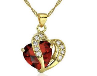 New Fashion Women's Heart Red Crystal Rhinestone Gold Chain Pendant Necklace for Sale in Pensacola,  FL