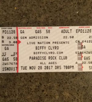 Two tickets Biffy Clyro 11/28 paradise, Boston for Sale in Newton, MA