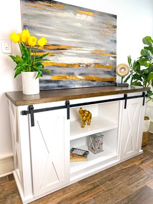 Barn door TV Console Stand Farmhouse Solid Wood Modern & Rustic Custom Built Sideboard for Sale in Houston, TX
