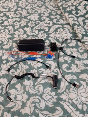 Black web LED Speaker, Onn, bluetooth headphones, laptop car charger, Type C and Micro Charger. Samsung USB Charging block for Sale in Woodstock, GA
