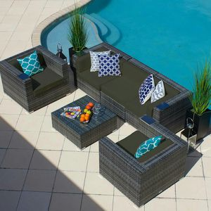 BRAND NEW FACTORY DIRECT 6 Piece Outdoor Patio Furniture Set, Aluminum & Wicker - Available in Multiple Cushions Colors for Sale in Palm Springs, FL