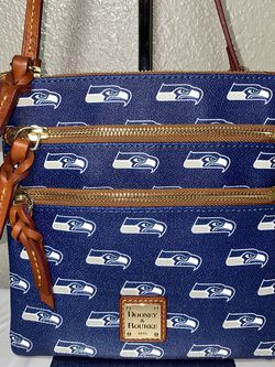 """Dooney & Bourke Seattle Seahawks Faux Leather with leather trim & strap. Triple Zip Crossbody Bag Purse. 7.75"""" x 8"""" with a 24"""" strap drop Excellent! for Sale in Kirkland,  WA"""