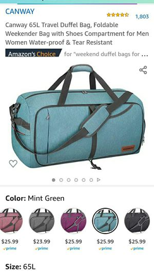 Canway 65L Travel Gym Duffel Bag, Foldable Weekender Bag with Shoes Compartment for Men Women Water-proof & Tear Resistant for Sale in Las Vegas, NV