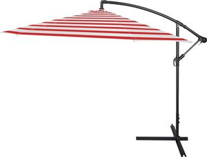 10' Deluxe Polyester Offset Patio Umbrella by Trademark Innovations (Red Stripe) for Sale in Miami, FL