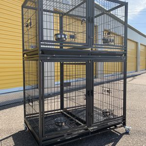 Brand new set HD dog kennel cage with plastic trays and wheels, removable divider🇺🇸 see dimensions in Picture 2&3 for each level🐕🦺 for Sale in Gilbert, AZ
