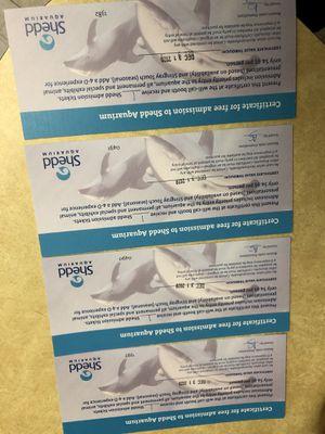 4 shed aquarium tickets for Sale in HOFFMAN EST, IL
