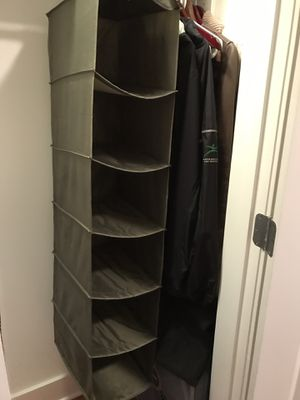 Olive Green Closet Organizer Collapsable Storage Compartments Bins Fabric Hanging for Sale in Chicago, IL