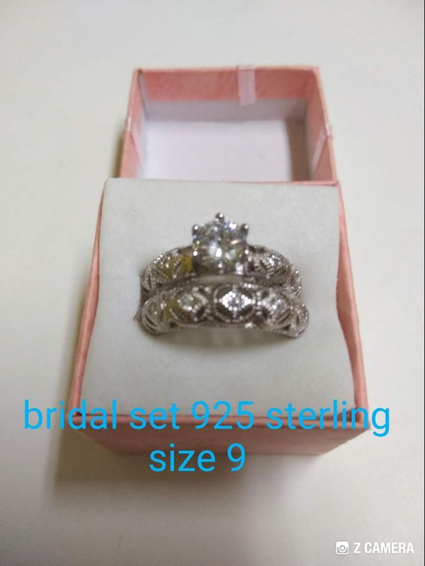 925 sterling silver bridal set, new