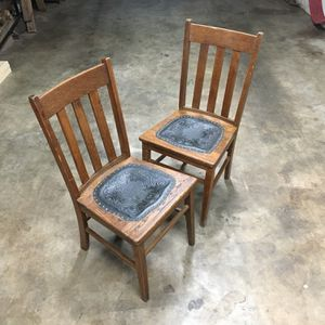 Vintage Oak Chairs Leather Seat With Brass Revets for Sale in Hendersonville, TN