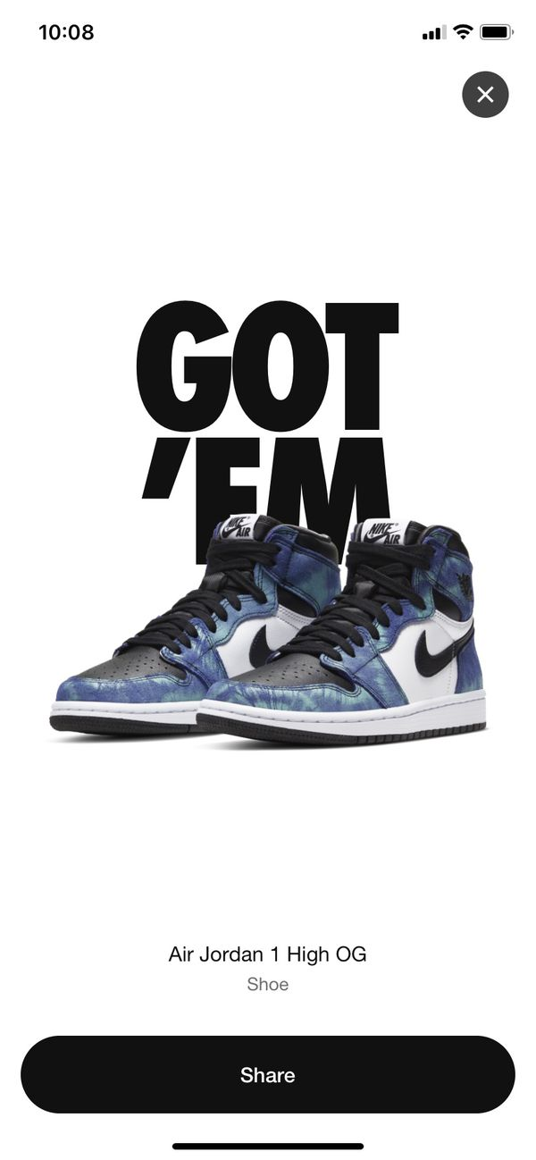 "Air Jordan 1 High OG ""Tie Dye"" sz 7.5 mens"